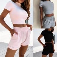 womens 2 piece outfit set cozy sport fitness set solid color round neck crop short sleeve top short high waist pants set
