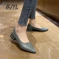 2021 autumn new korean style pointed shallow mouth fashion thick heel student single shoes women two work shoes womens shoes