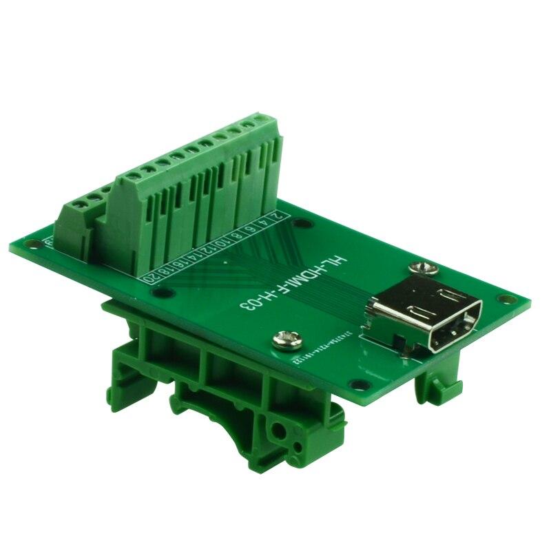 Conector fêmea horizontal de hdmi a junção de linha do bloco terminal da tomada hd fêmea hdmi para aparafusar o módulo