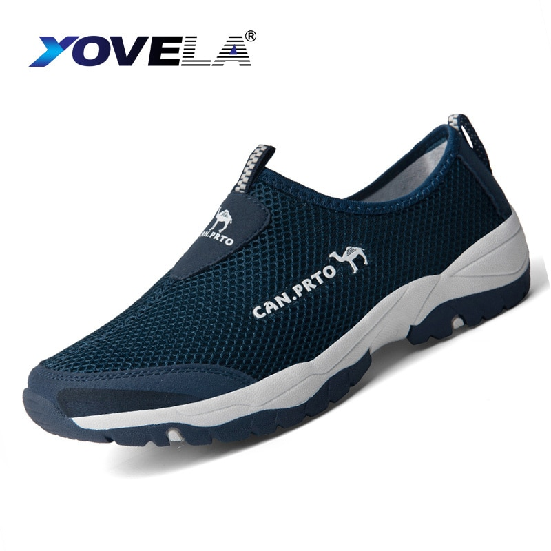 Zapatos de verano a la moda, zapatos informales para hombre, zapatillas planas transpirables sin cordones de malla para exterior para hombre, cómodas zapatillas de agua de talla grande 45