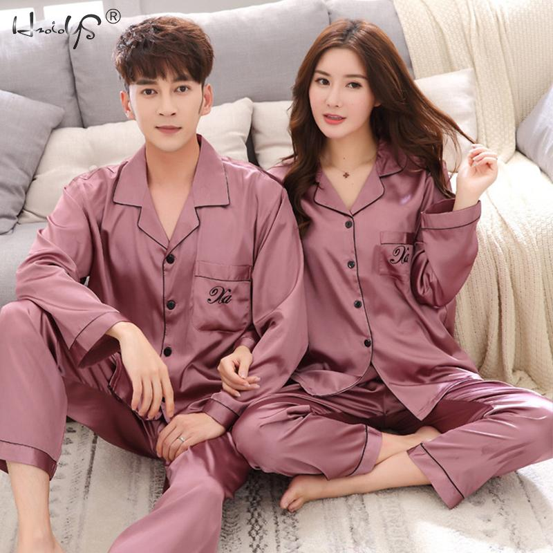 Luxury Pajama suit Satin Silk Pajamas Sets Couple Sleepwear Family Pijama Lover Night Suit Men & Women Casual Home Clothing
