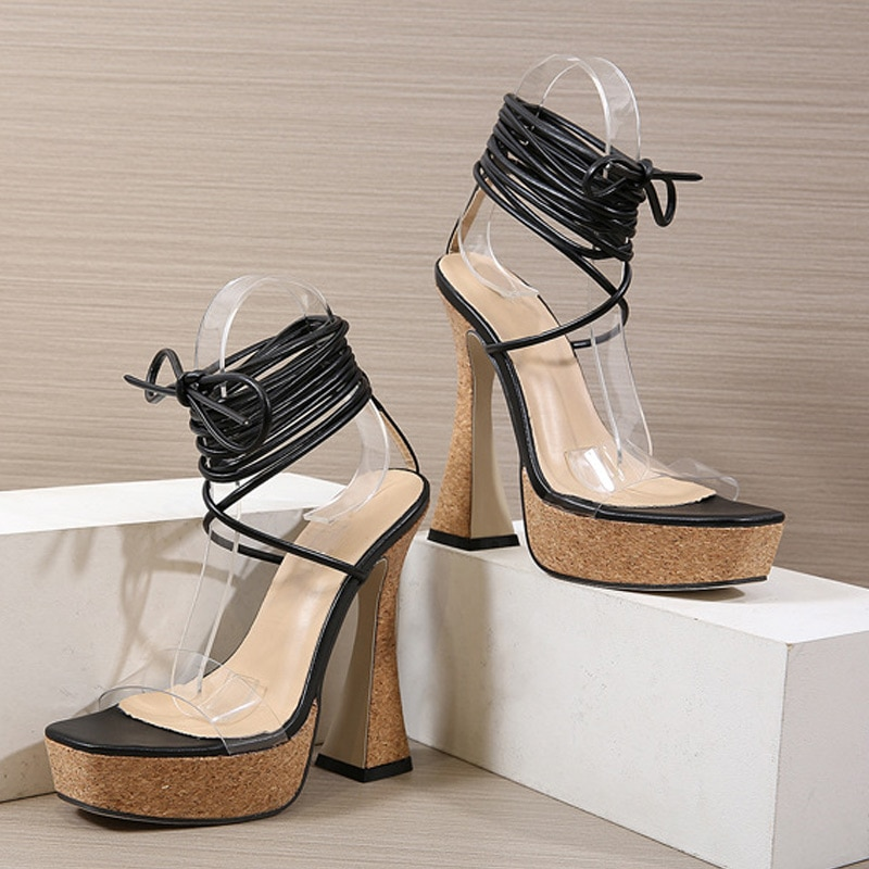2021 Women Summer Sandals Pumps Peep Toe Solid Color Lace-up Gladiator Cross-Tied Strap High Heels Elegant Sexy Females Shoes