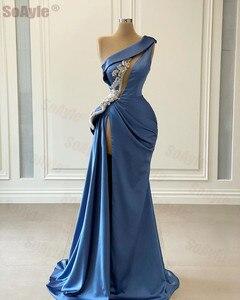 SoAyle Blue One Shoulder Formal Evening Dress for women Sleeveless Beaded Sexy Split Dubai Evening Dress Vestidos de Fiesta