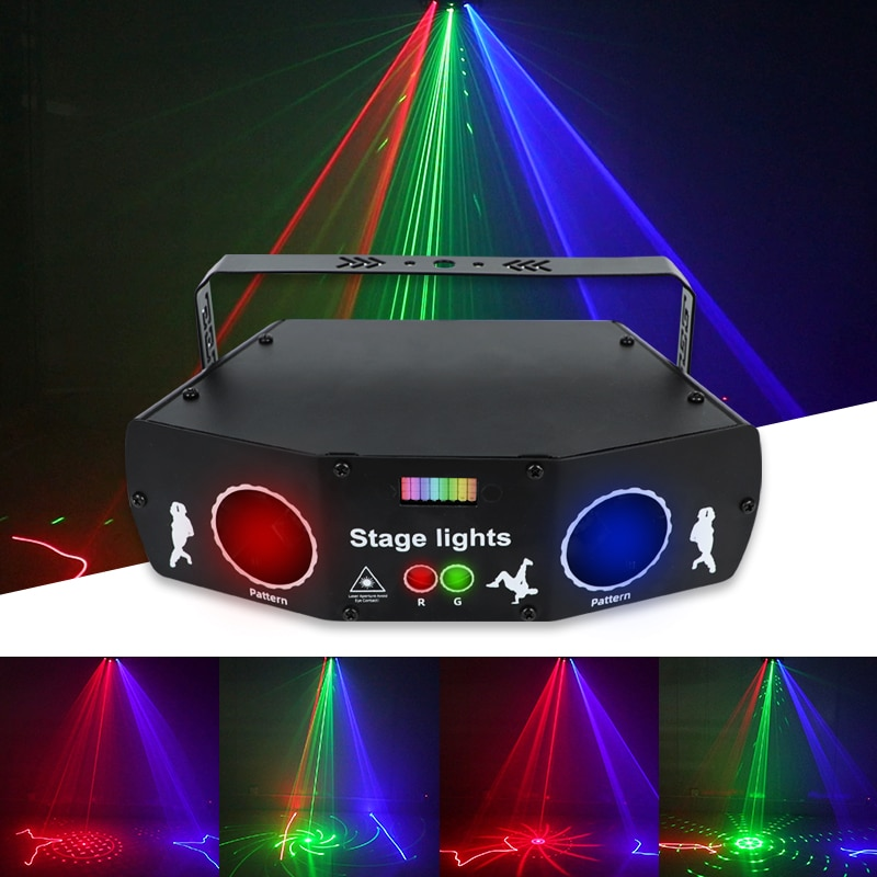 WUZSTAR New 5 Eyes 3 IN 1 Laser Projector Beam Lights Voice Control  LED Lamp RGB DMX Party Lights For Wedding Christmas Club