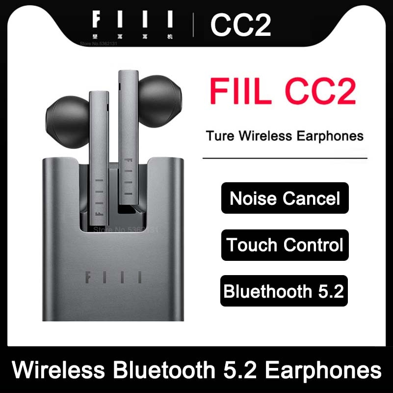 FIIL CC2 Wireless Bluetooth 5.2 Earphones ENC Call Noise Canceling Sport Headphones TWS Gaming Heads