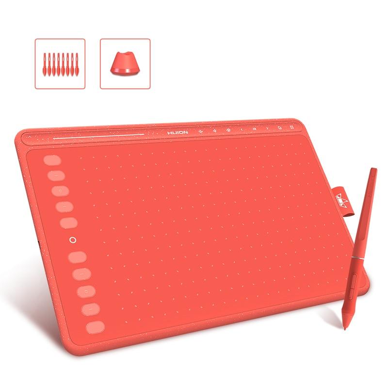 HUION 3 Color HS611 Graphic Tablet Pen Digital Drawing Tablets Multimedia Keys Media Bar Battery-Free Pen with Tilt Function