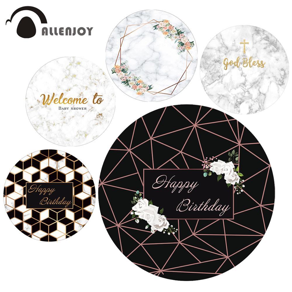 Fondo floral de mármol de Allenjoy, fiesta de despedida de soltera, círculo floral, boda, Santa Comunión, personalizado, cubierta de fondo redondo