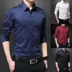 Nova camisa masculina de manga comprida camisas casuais vestido masculino fino sólido vestido de negócios camisa primavera outono vestido masculino com botão