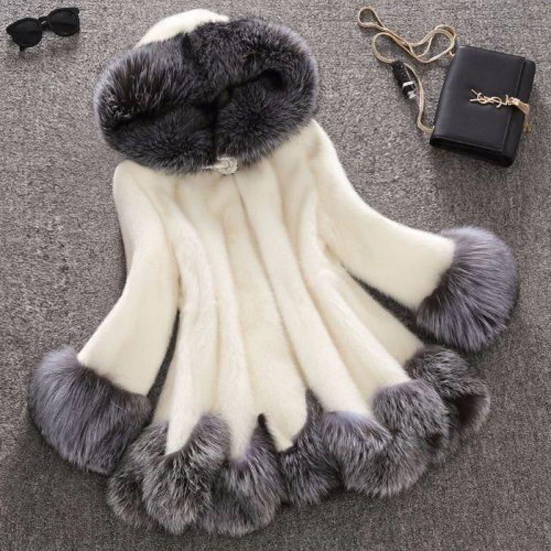2020 Winter Fur Coat Women Butterfly Sleeve Hooded Patchwork Faux Fox Fur Coat Female Fashion Fluffy Outerwear Mujer  S-12XL B16