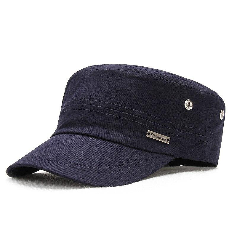 Gorra de algodón puro para hombre, gorra plana para exteriores, gorra de ocio para mujer, gorra militar para el sol, gorro de marinero, gorras de béisbol de talla grande 56-63cm
