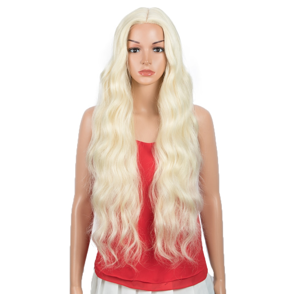 FASHION IDOL 34 inch Wavy Fake Wig Part Lace Wig Ombre 613 Heat Resistant High Temperature Fiber Synthetic Wigs For Black Women
