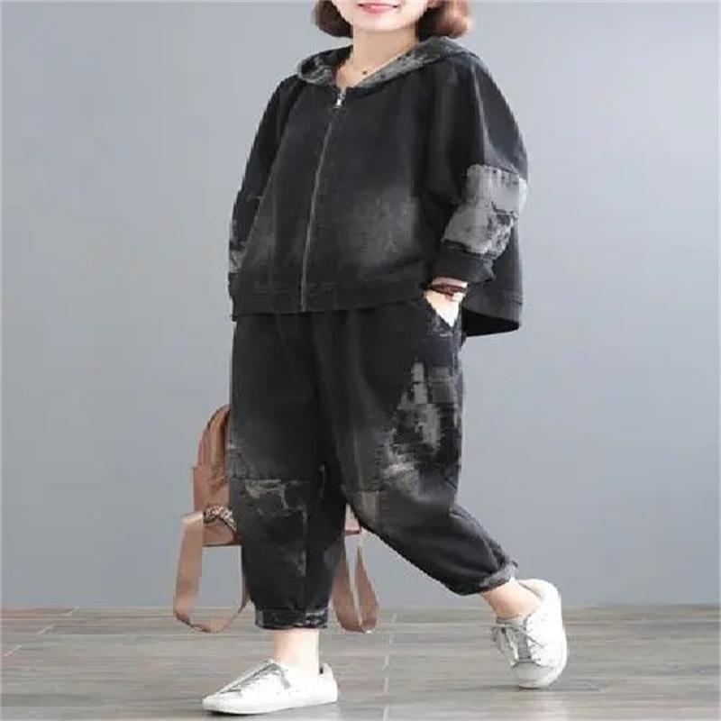 2021 جديد الرجعية النساء الجينز الدعاوى الخريف المعتاد المرأة مقنعين خياطة الدنيم عارضة بدلة على الموضة الإناث الكورية اثنين-قطعة مجموعة