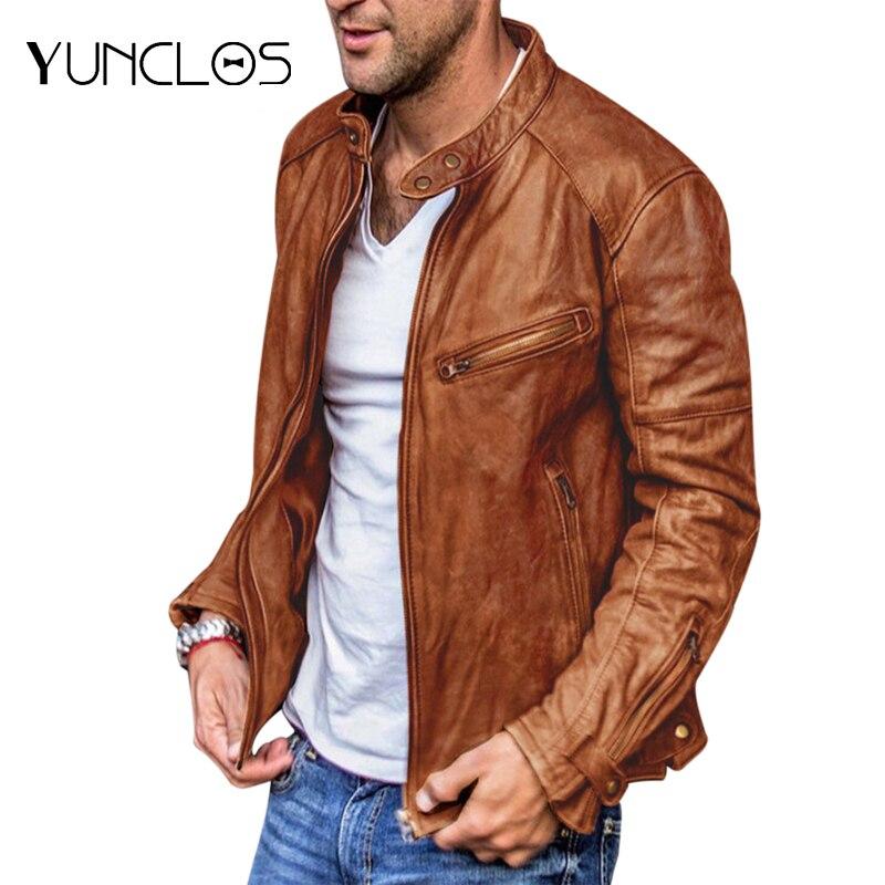 YUNCLOS Hommee معاطف الرجال سترات من الجلد السببية دراجة نارية يندبروف سترة مضادة للماء للرجال الدافئة ملابس عصرية الشارع الشهير