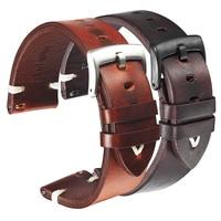 Ремешок кожаный для наручных часов, быстросъемный итальянский Браслет из вощеной кожи, чёрный темно-коричневый, 18 мм 20 мм 22 мм, Воловья кожа, ...