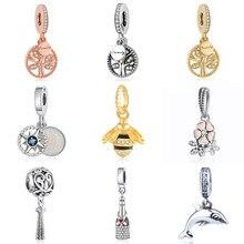 S925 pendentif bijoux à bricoler soi-même famille héritage arbre boussole abeille poétique dauphin balancent breloque ajustement dame Bracelets