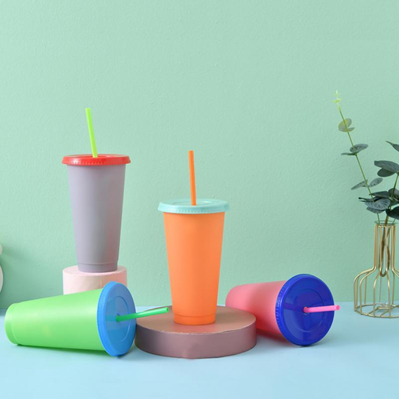 Vasos de plástico reutilizables que cambian de Color, vaso de plástico con...