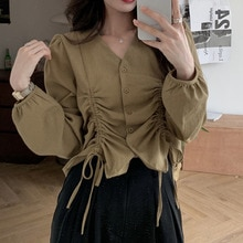 Women's Buttoned Shirts 2021 Fashionable Long-Sleeved V-neck Shirt Solid Color Blouse Ladies Retro C