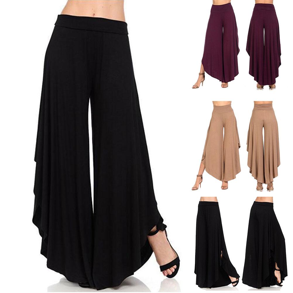 Women Summer Cropped Pants Ladies Irregular Comfortable Wide Leg Pants -OPK