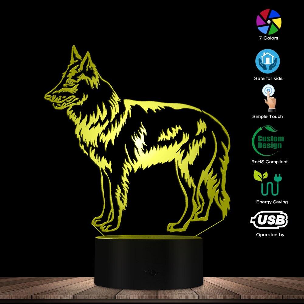 Groenendael, lámpara de ilusión óptica de perro pastor Pastor negro belga, iluminación decorativa para el hogar, decoración para cuarto de niños, regalo para amantes de los perros