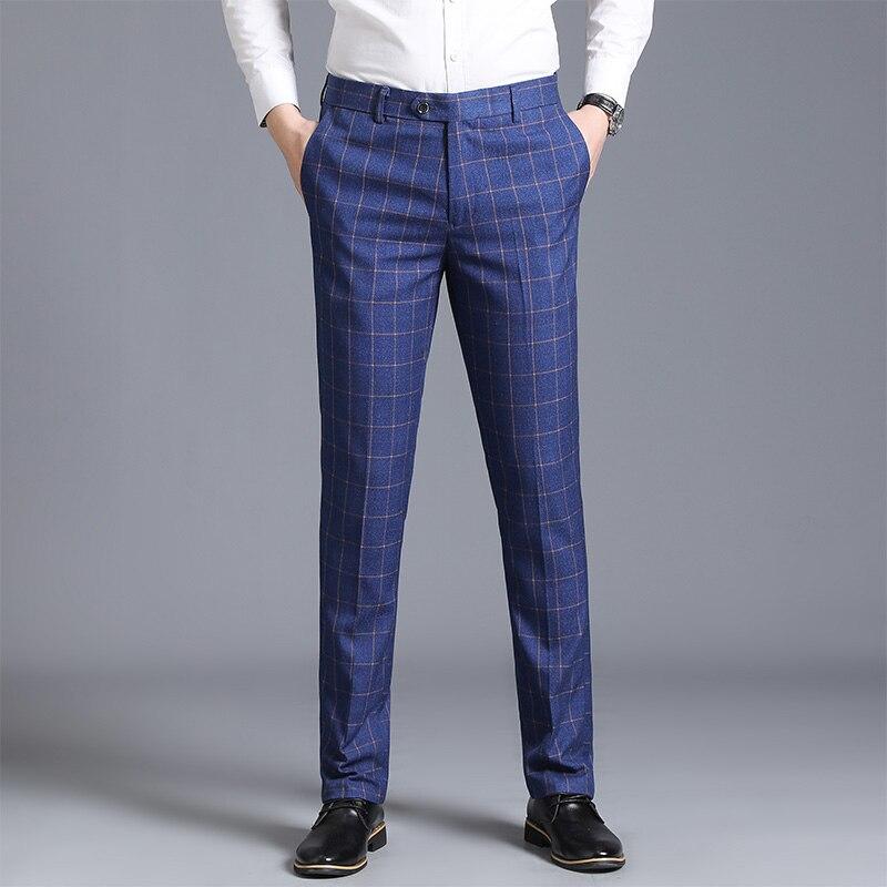 Новинка весны 2020, мужские клетчатые брюки, облегающие брюки с железными ножками, рабочие брюки, деловые повседневные мужские классические б...