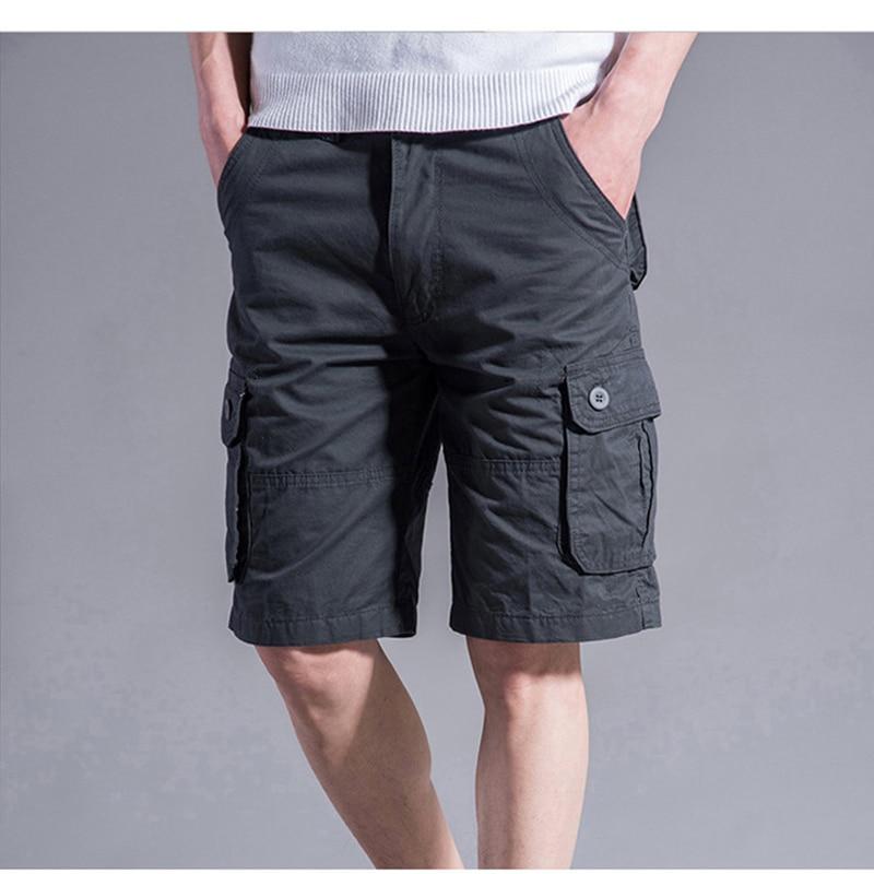 Men Summer Casual Mulit-Pocket Shorts 2021 Men Joggers Shorts Trousers Men Breathable Big Tall 42 44 46 Large Size