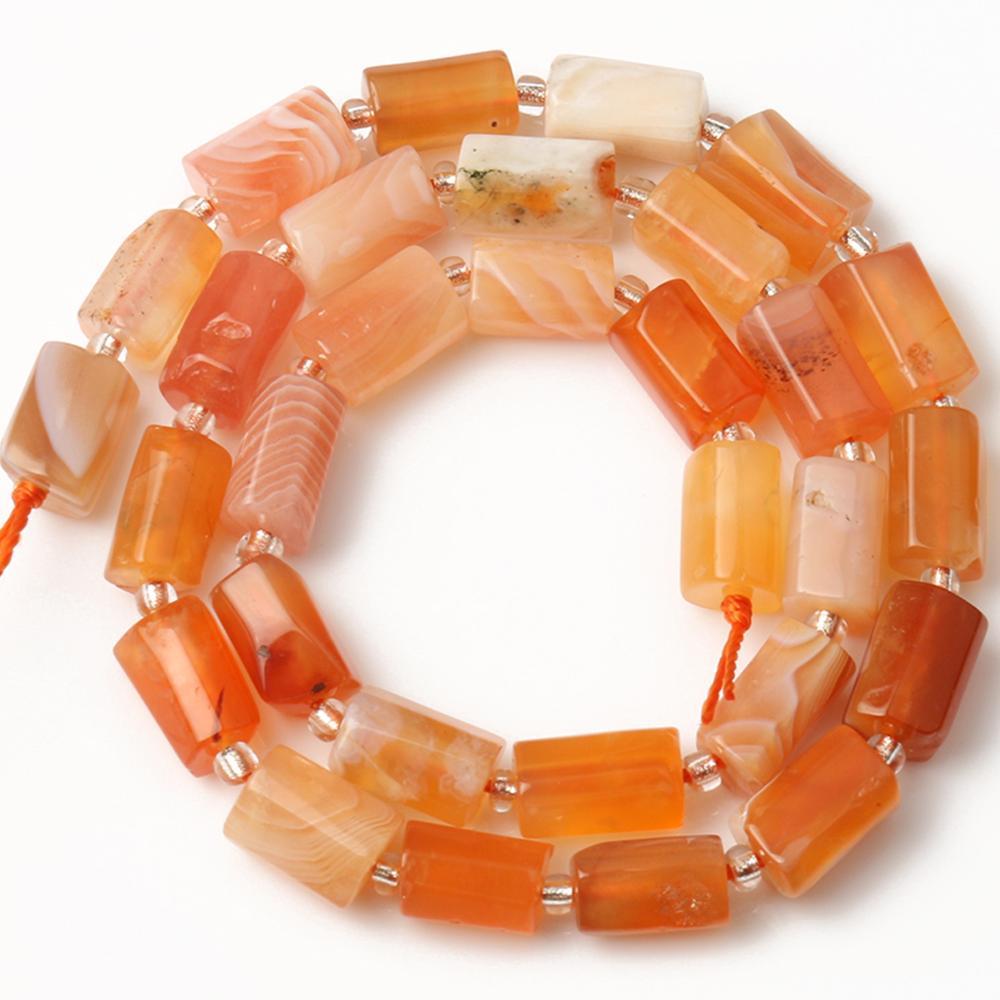 8x11mm naturel facetté cylindre gemme Orange persan Agates perles de pierre perles entretoises en vrac pour la fabrication de bijoux Bracelet à bricoler soi-même 7.5 pouces