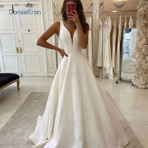 Sexy Deep V-neck White Satin Wedding Dresses 2021 For Women Floor Length A-line Bride Dresses Lace Up Back Wedding Gowns