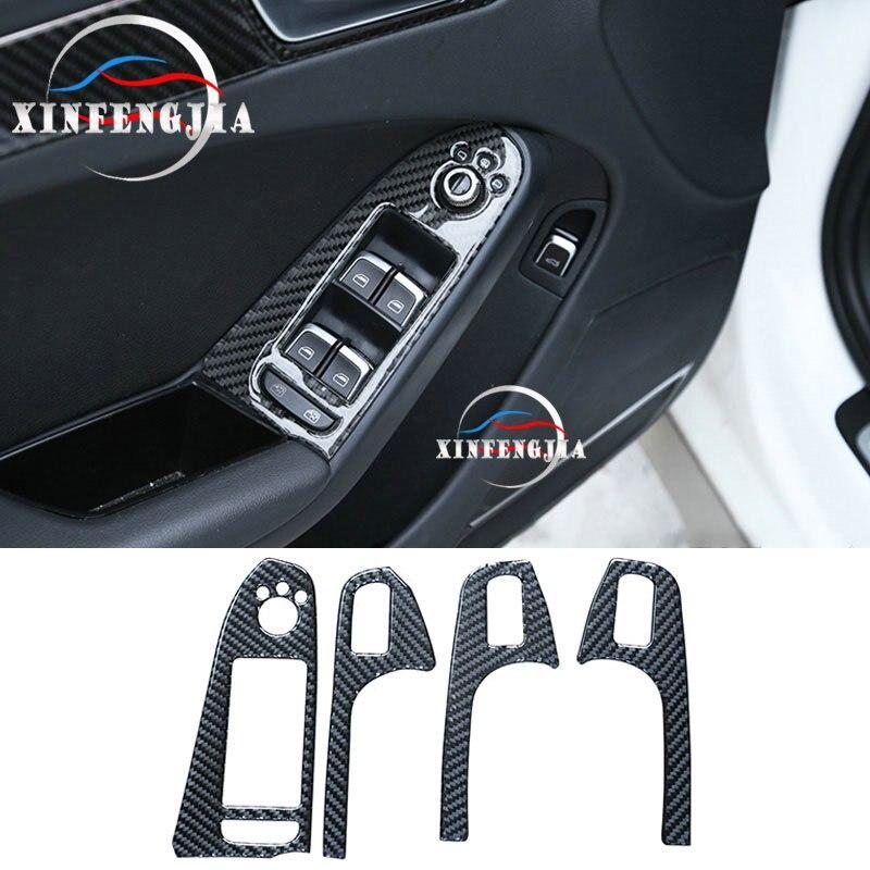Para Audi A5 A4 B8 09-2016 4 Uds. Reposabrazos de puerta de fibra de carbono