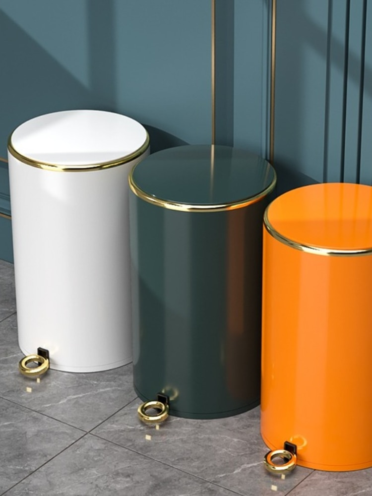 Nordic Luxury Stainless Steel Trash Can  Office Trash Bin with Lid Bathroom Living Room Kosz Na Smieci Household Products DF50LJ enlarge