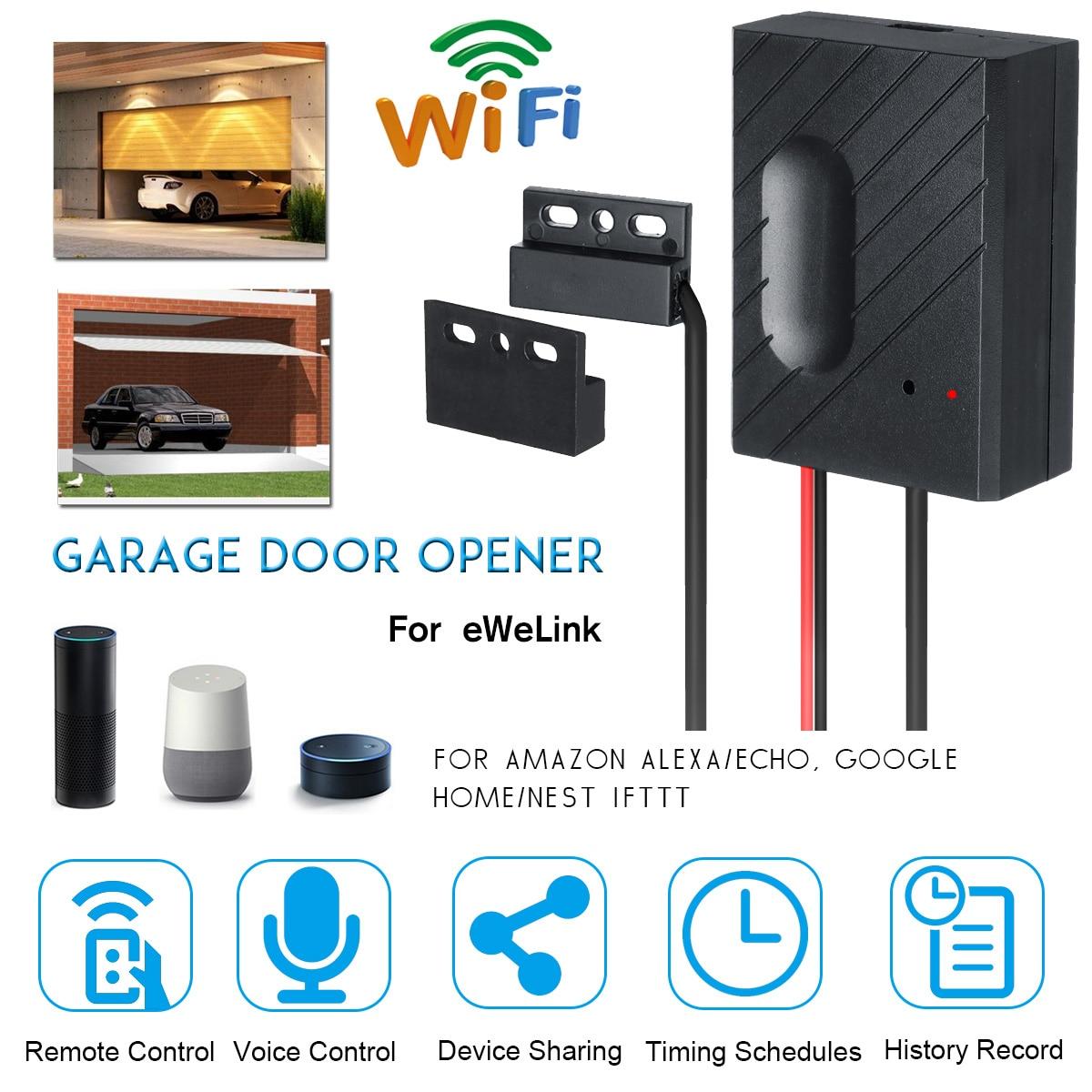 Controlador de puerta de garaje con interruptor WiFi Ewelink para apertura de puerta de garaje, aplicación remota, Control de voz