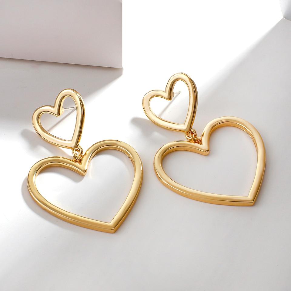 Aensoa Vintage Metal Gold Color Earrings For Women Simple Big Hollow Peach Heart Alloy Drop Earrings Party Jewelry Brincos 2020 Drop Earrings Aliexpress