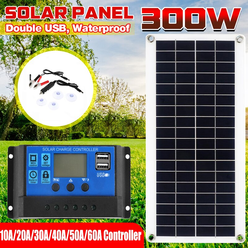 300W Solar Panel 12V 5V Dual USB 10-60A Controller Waterproof Monocrystalin Solar Cells for Car Yacht RV Battery Charger