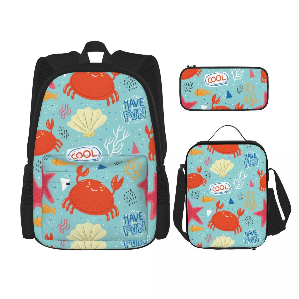 3 مجموعة على ظهره 2021 الحيوانات البحرية الملونة على ظهره حقائب كتف حقيبة مدرسية Mochilas حقيبة ظهر الطالب