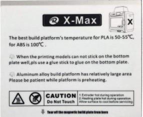 Naklejka na łóżko do drukarki 3D QIDI TECH x-max zestaw 1 szt