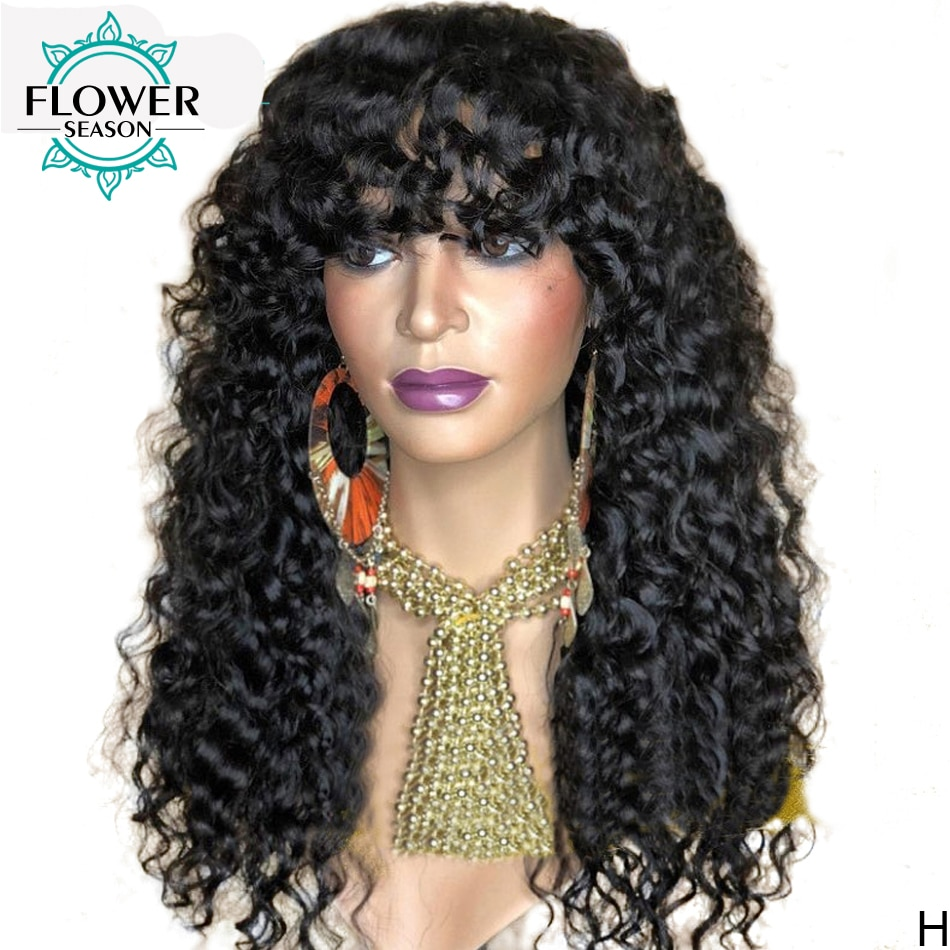 Brazilian Human Hair Wigs Water Wave Full Machine Made Wig Scalp Top 180 Density For Black Women Loose Wave Wig FlowerSeason