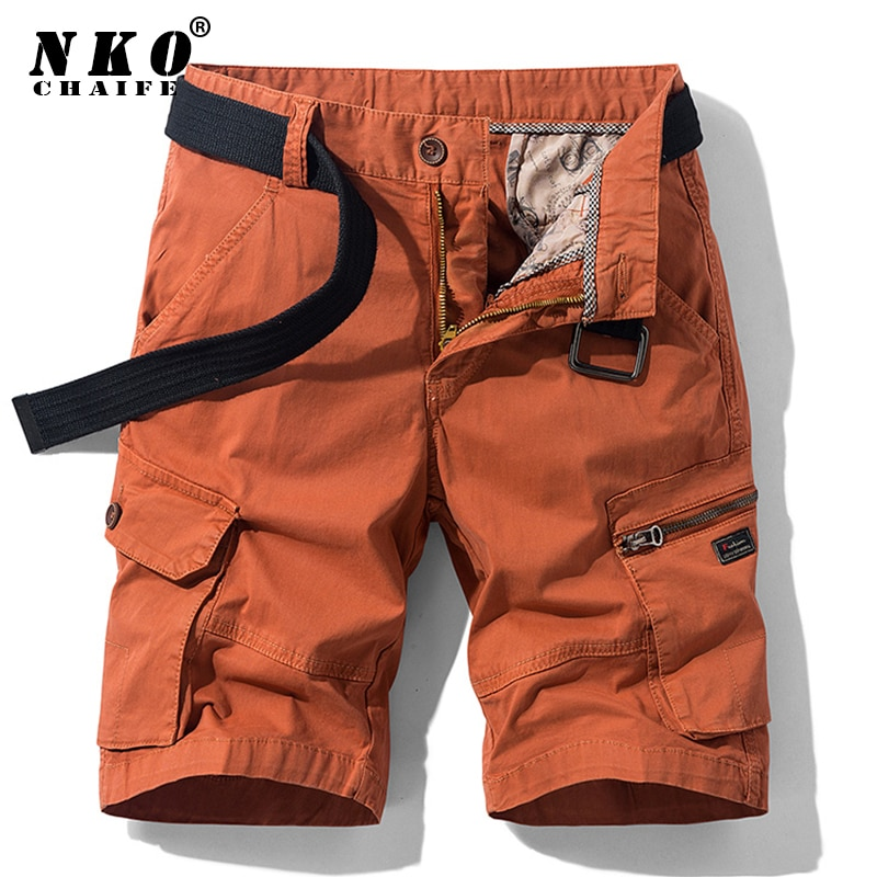 CHAIFENKO Summer Casual Cargo Shorts Men High Quality Cotton Military Shorts Pants Multi-Pocket Loos
