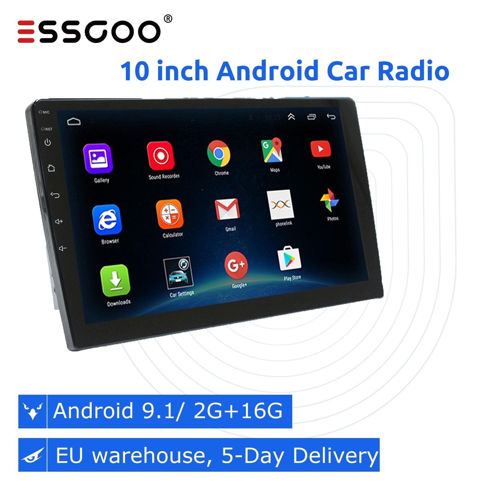 Essgoo-راديو السيارة 10.1 بوصة ، Android 2 16 جيجابايت ، نظام تحديد المواقع العالمي (GPS) ، WIFI ، Bluetooth ، mirrorlink ، مشغل الوسائط