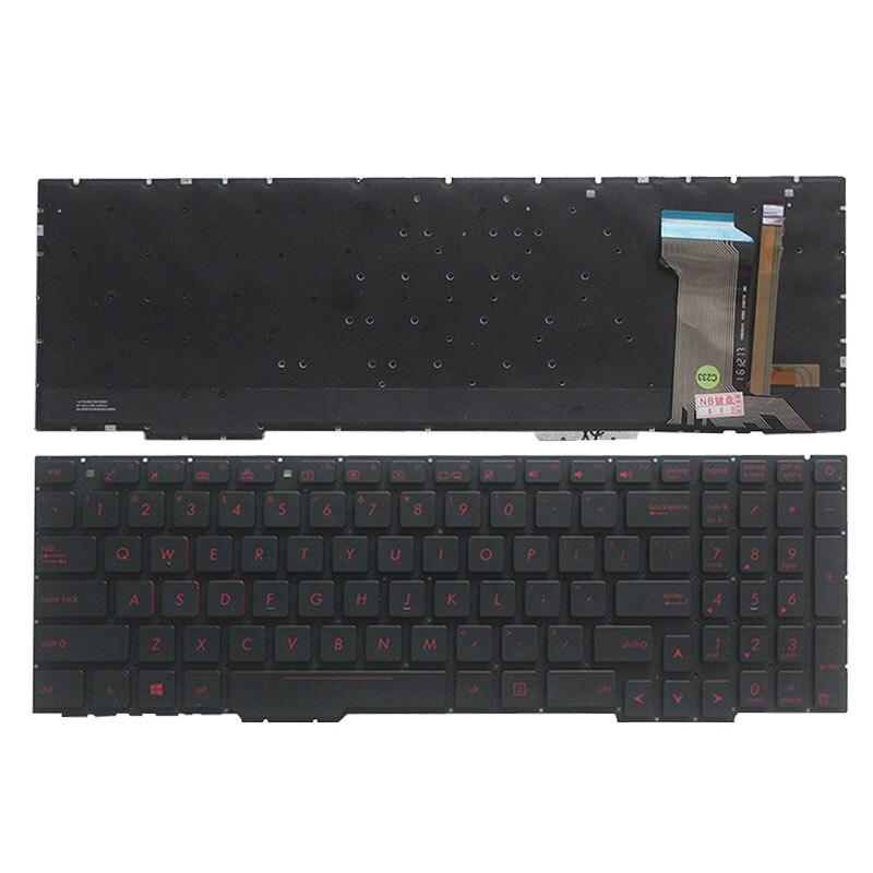 Teclado de ordenador portátil de ee.uu. para ASUS GL553, GL553V, GL553VW, ZX553VD, ZX53V, ZX73, FX553VD, FX53VD, teclado FZ53V con retroiluminación roja