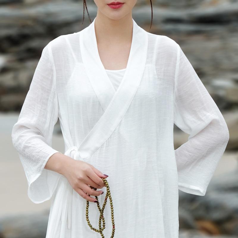 2021 الصينية القطن والكتان تحسين فستان تشيباو الخامس الرقبة تصميم لون نقي طويل الأكمام تنفس النسيج الصيف الشاي الفن فستان