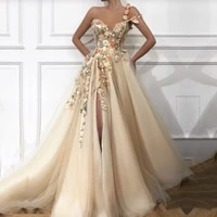 elegant prom dress long v neck appliques with flowers handmade side split tulle evening gowns party graduation vestido de festa