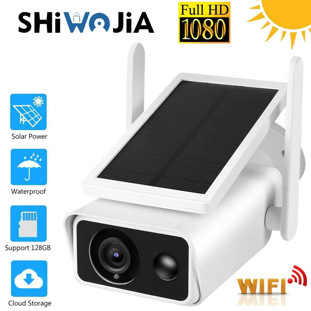Get SHIWOJIA Outdoor Solar Camera Wifi Powered Security Video Surveillance Wireless CCTV 1080P HD PIR Detection ICSEE CCTV Cameras