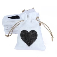 20pcs baby shower heart linen drawstring gift bags nice jewelry packaging bags wedding dragee gift wrapping bonbonniere pouch
