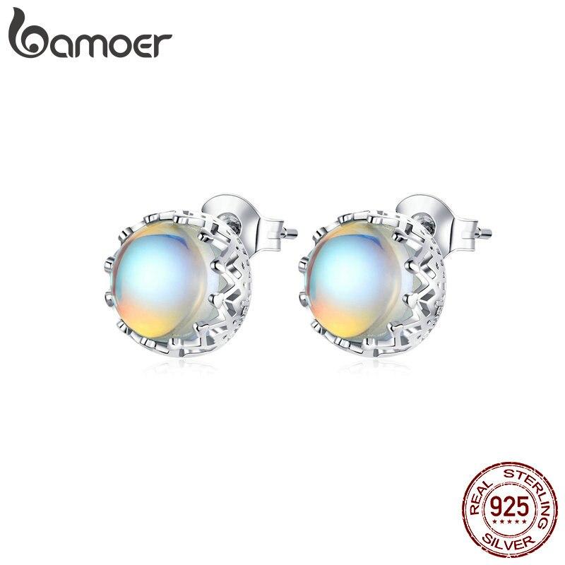 Bamoer 925 Sterling Silber Runde Mond Stein Stud Ohrringe für Frauen Magie Crown Ohr Stud Schmuck Brincos 2020 Neue SCE877