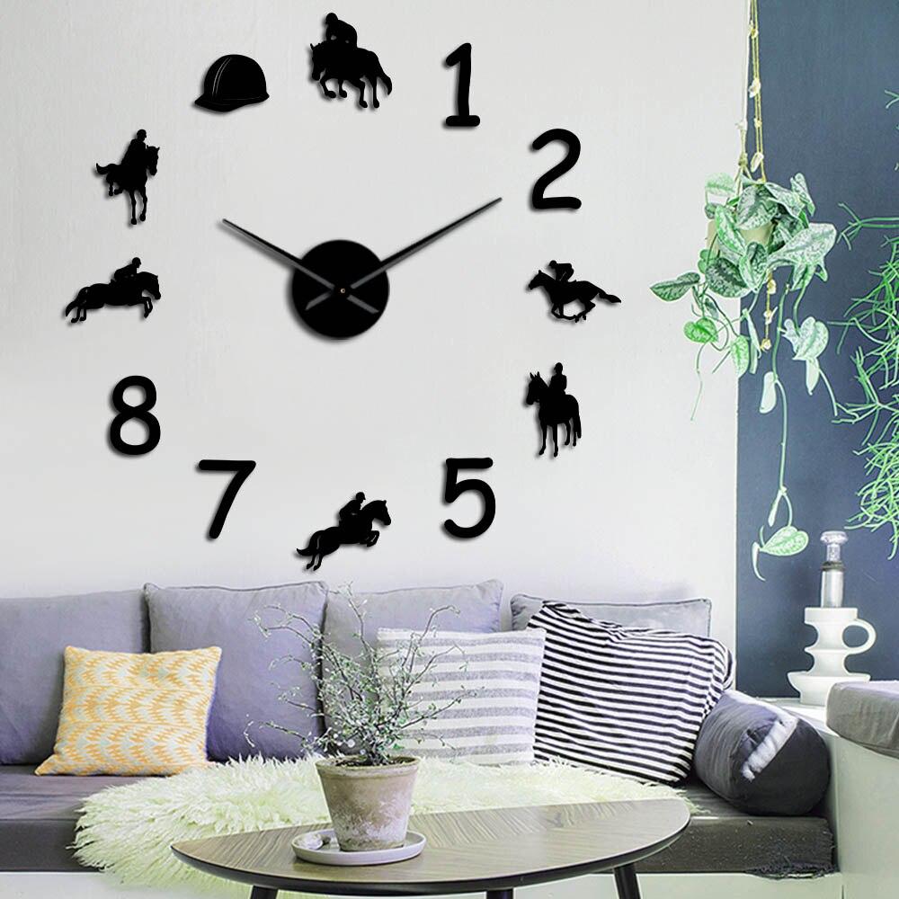 Reloj de números para pared grande para montar a caballo sin marco, reloj de pared con espejo 3D gigante, regalo de jinete