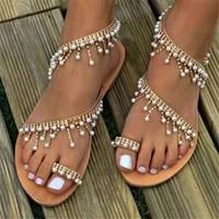 2021 new summer rhinestone roman sparkling pearl sandals european and american handmade beaded flat sandals female spot