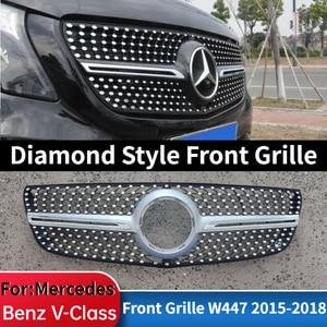 Алмазная решетка Viano V Class, Черный, Серебристый Хром, для Mercedes Benz V260 V250 AMG Line, передний бампер, гоночный гриль 2015-2018