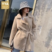 luxury women real fur jacket loose fit leather belted natural wool coat office ladies mid long shearling jacket winter overcoat
