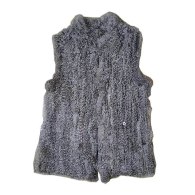 Pele Real De 2020 Lady Moda Genuine Knitting Rabbit Fur Vest Colete Mulheres natural Fur vest Gilet colete Outerwear