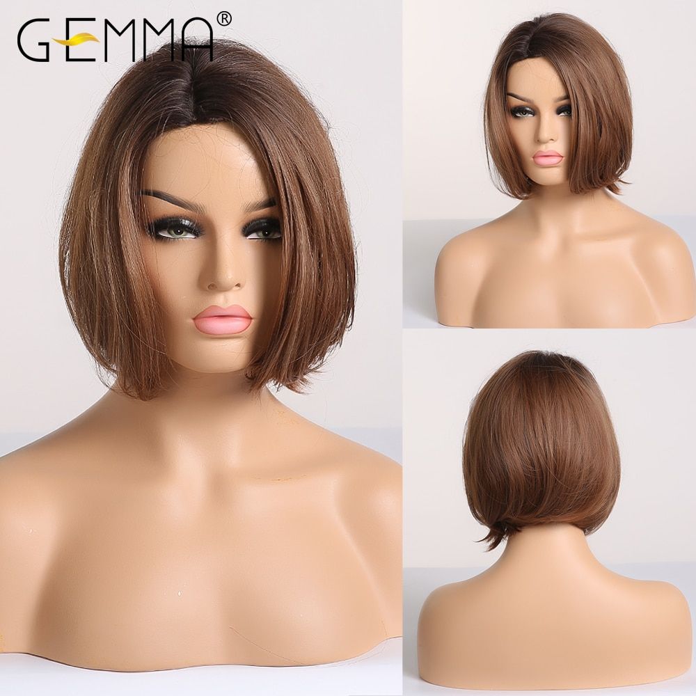 GEMMA Pixie Cut Synthetic Short Straight Ombre Black Brown Wig Natural Looking Side Part Heat Resistant Hair Wig For Black Women