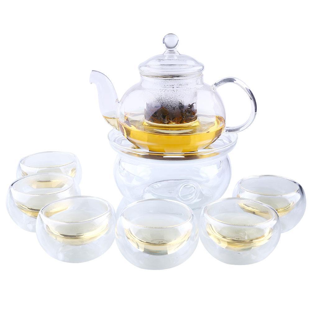 Conjunto de chá 800ml sarafe conjunto copo infuser pote vidro claro bule + aquecedor 6 parede dupla com borosilicato resistente ao calor